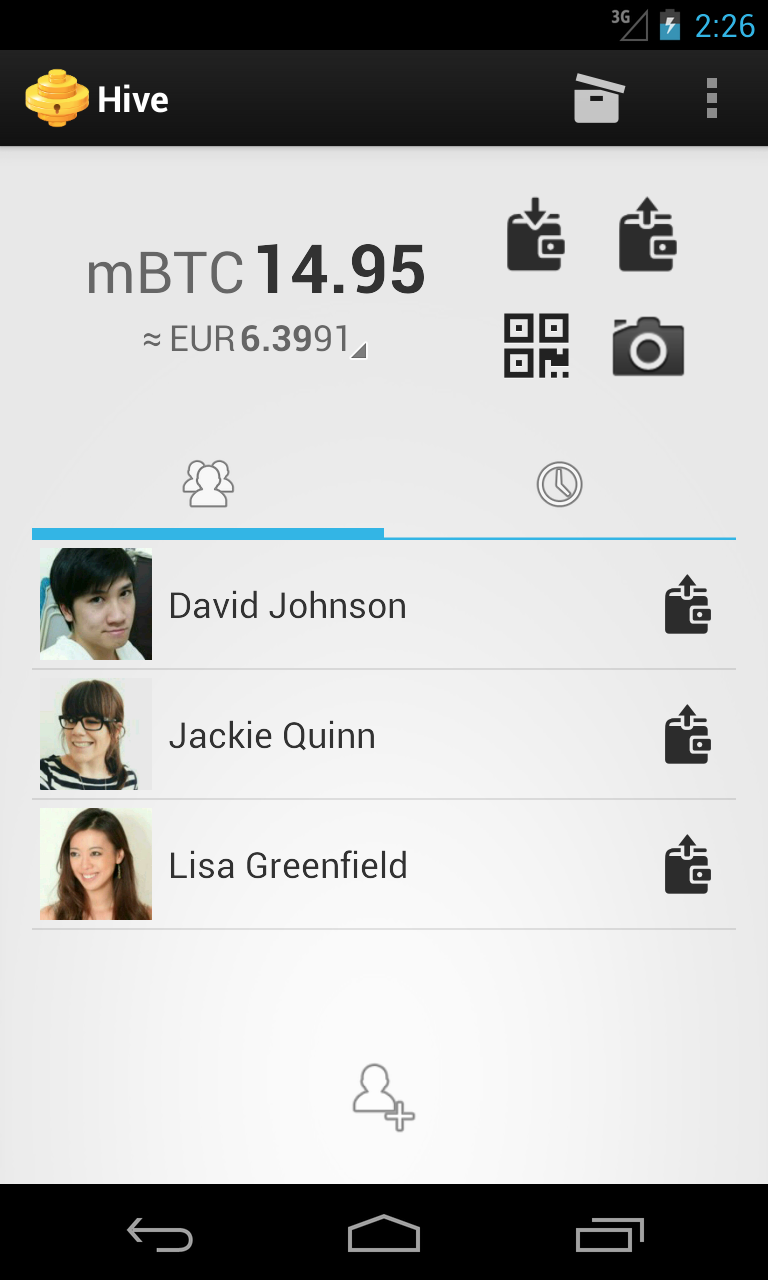 Hive wallet for Android showing home screen