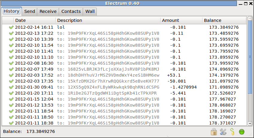 screenshot of Electrum with its Qt gui